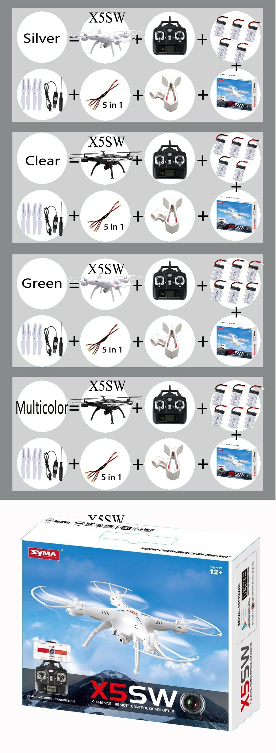 Free Shipping SYMA X5SW FPV With 2 MP Camera WIFI RC Drone Quadcopter 2.4G