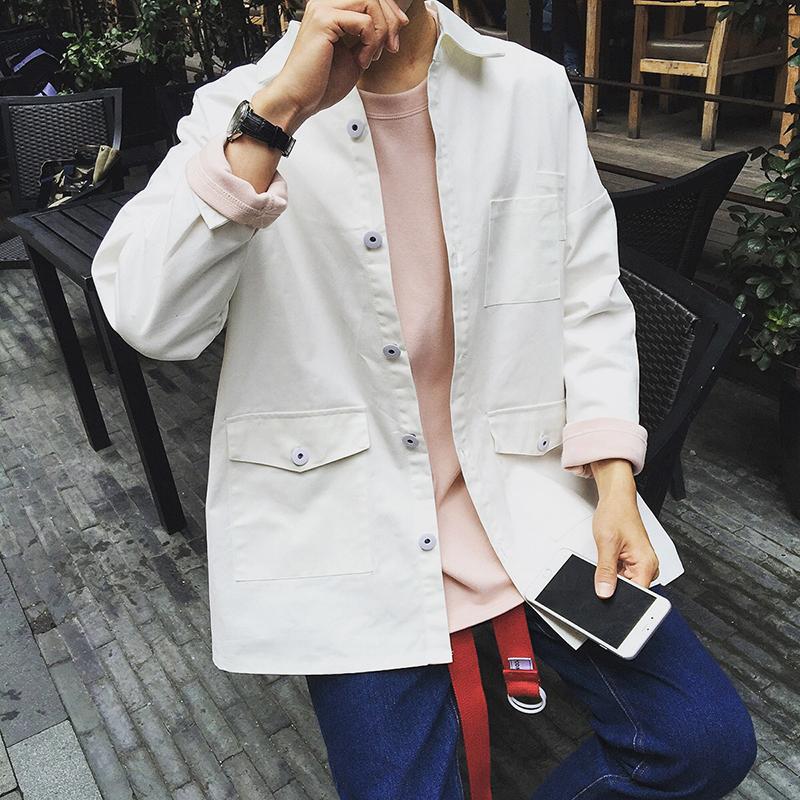2015 New Autumn England style Wild simple small fresh art white Denim jackets coats men casual loose denim jacket men,M-XXL(China (Mainland))