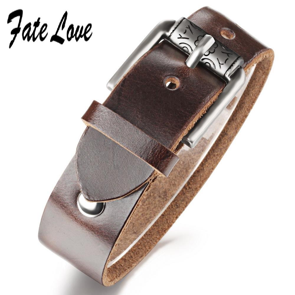 Punk 20MM Width Genuine Cowhide Leather bracelet Men for Women Brown 2015 Designer Leder Arm Band Popular Adjust Size FL951(China (Mainland))
