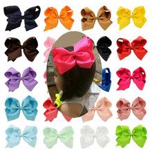 Fashion 6 Inch Cute Boutique Hair Pin Grosgrain Ribbon Bows Hairpins Little Girl Bows Hair Clips Kids Headwear Accessories New(China (Mainland))