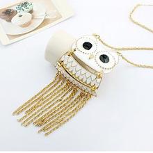 2016 Hot Sales Korea Jewelry White Rhinestone Magic Big Owl Tassel Necklace,Korea Owl Necklace 88N73