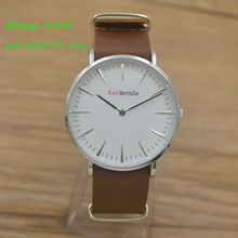 fashion dress quartz nylon man watch woman 40mm waterproof PU steel real leather band silver antibrittle