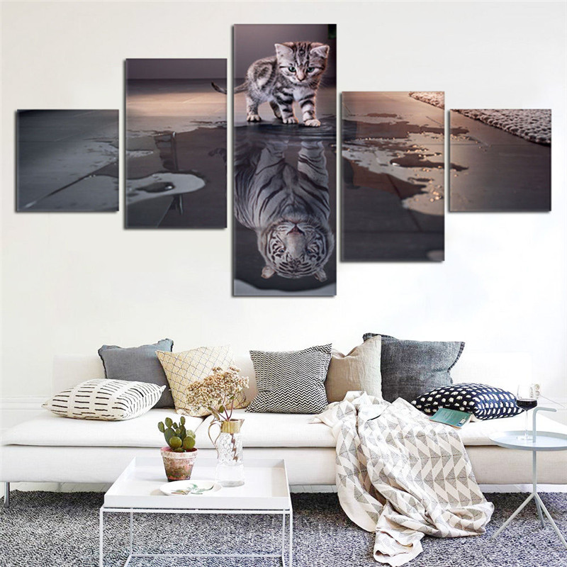 Newest Island 5 Panels Decorations Modern Canvas Prints Artwork Cat and Tiger Pictures Paintings Canvas Wall Art Painting Decor(China (Mainland))