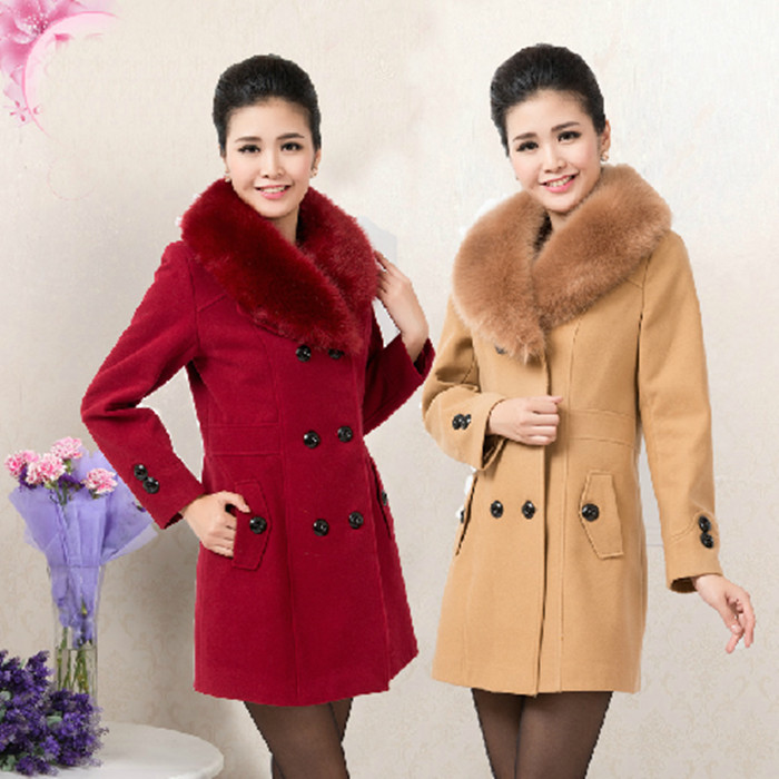 2014 spring autumn multi-colored cashmere oversized fur collar long sections fertilizer increase woolen coat L-5XL