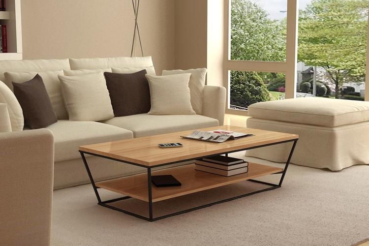 Muebles de hierro retro pino mesa de centro de madera for Mesas de madera para sala