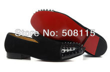 Hot sale all black suede leather toe cap+rivets loafers free shipping Harvanana Tartan signature red sole  Men casual Flats(China (Mainland))