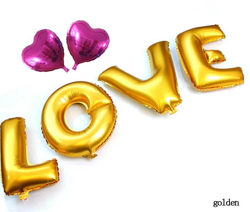 16inch 40cm capital letter LOVE set metallic colorful foil mylar helium Balloons for Birthday wedding Party