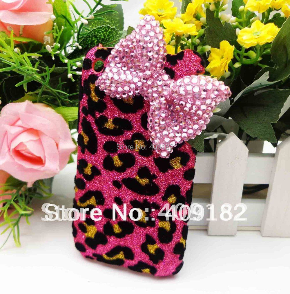 New High Fashion Bling Shiny Red Leopard Case Pink 3D Bow Hard Back Cover Case for iPhone 3G/3GS(China (Mainland))