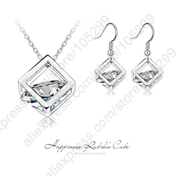 Happiness Rubik Cube Jewelry Sets Genuine Fine 925 Sterling Silver Cubic Zirconia Pendant Necklace Hook Drop Earrings Set(China (Mainland))