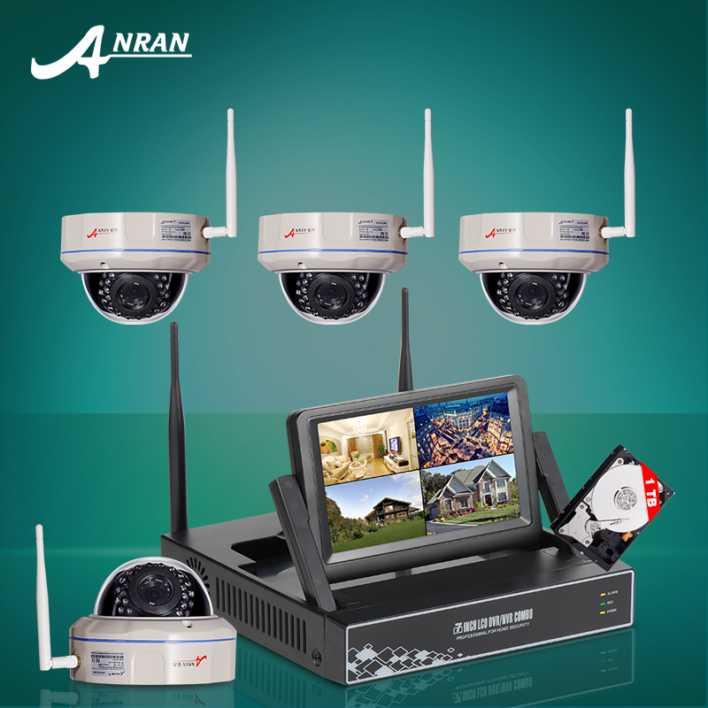 Anran 4CH HDMI NVR Kit Wireless CCTV System 7 Inch Screen Onvif 720P IR Night Vision Dome Security IP Camera WIFI 1TB HDD(China (Mainland))