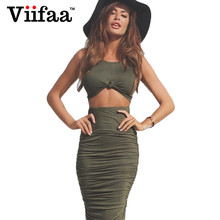 Buy Viifaa 2017 Sexy Women Two Piece Outfits Dress Summer Bodycon Club Dress Party Green Midi Dresses Vestidos for $9.09 in AliExpress store