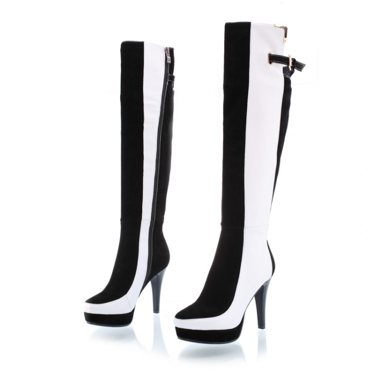 Fashion 2016 Winter Style Sexy MIxed Color Knee Tight High Boots High Heels Women High Heel Boots Womens Heeled Shoes Lady Bota<br><br>Aliexpress