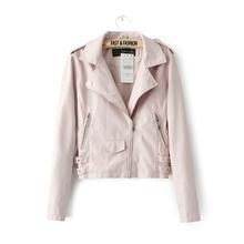 New 2016 Women's Winter Autumn New Clothing Brand Fashion Slim Pink Blue Black Long-sleeved Faux Leather Jackets Women jacket(China (Mainland))