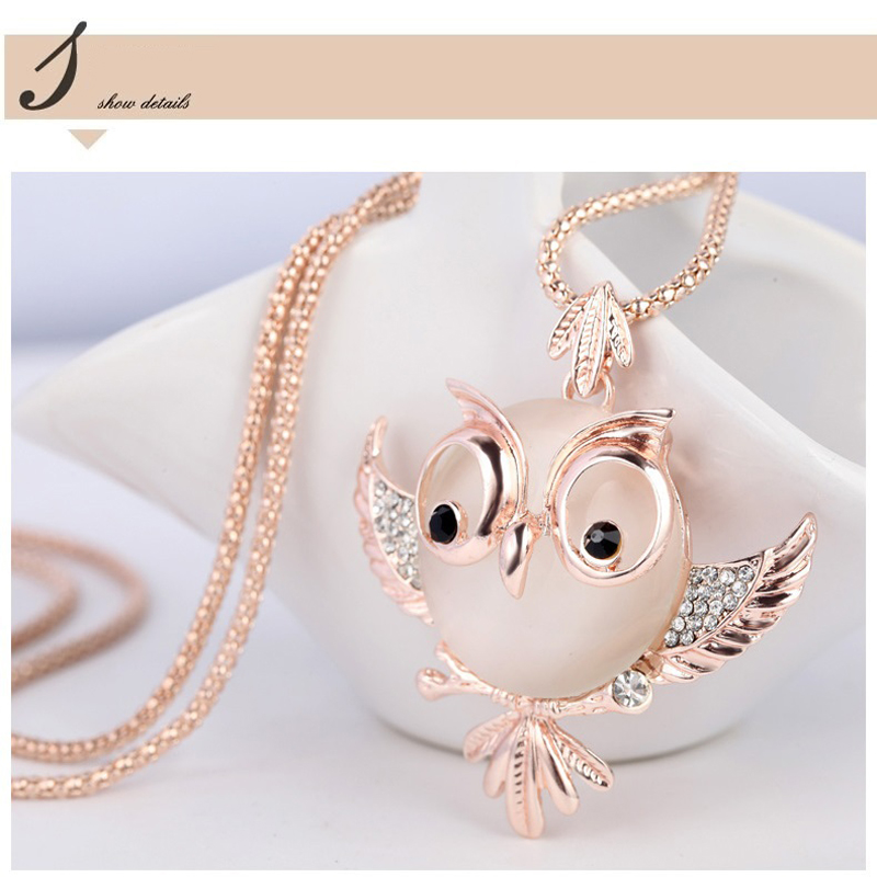 Trendy chubby owl necklace crystal jewelry aloadofball