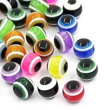 8SEASONS Resin Beads Round Mixed Evil Eye Stripe 8mm Random Dia,30(B22208) - 8Seasons Jewelry store