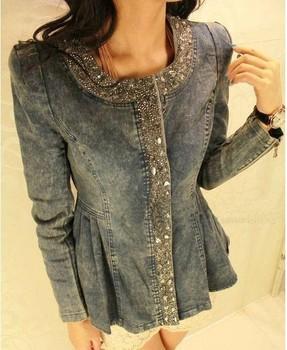 2015 New Women's rhinestones denim Jacket  Sequined zipper fashion o-neck long-sleeve slim denim coat Outerwear QY13012307