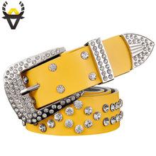 Buy 2017 New Fashion Belt female Genuine leather belts women Luxury rhinestone Second layer Cow skin strap woman Wide women's girdle for $9.80 in AliExpress store