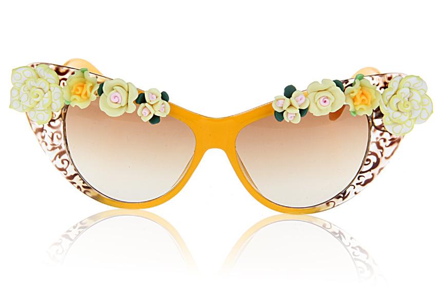 2014 New Arrival Fashion Statement Orange Flower Summmer Beach Sunglass Cat Sunglass Women Handmade Flower Holiday Gifts 8797(China (Mainland))