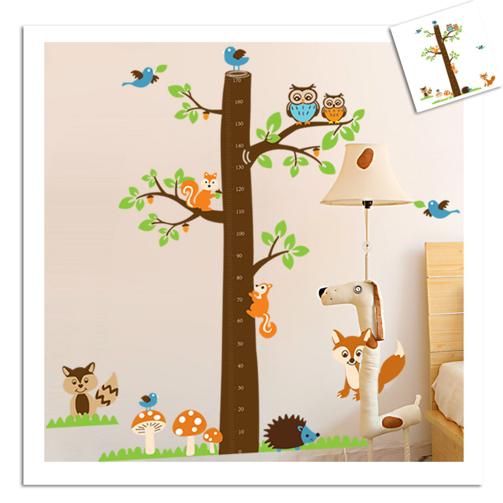 Hight quality! 185*182 cm Forest Animals Height Chart Wall Decal Children's Room Baby Nursery Vinyl Sticker Vinyl Wall Art Decal(China (Mainland))