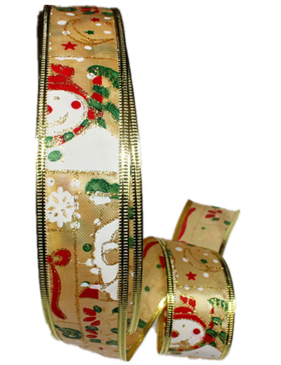 New 5CM*200CM Gold Silver Christmas Ornament Snowman Ribbons Printed Ribbon Adornos Navidad 2015 Arvore De Natal(China (Mainland))