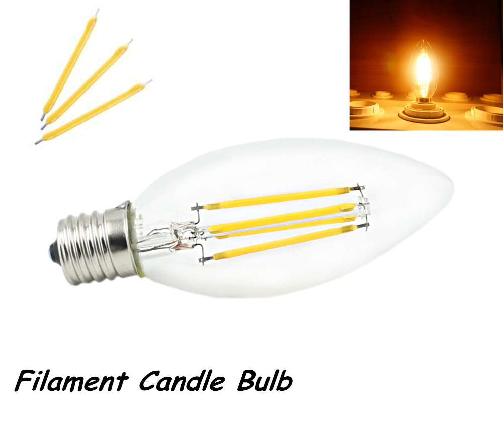 4pcs 2w 4w 110v e17 led intermediate base light filament candle bulb. Black Bedroom Furniture Sets. Home Design Ideas