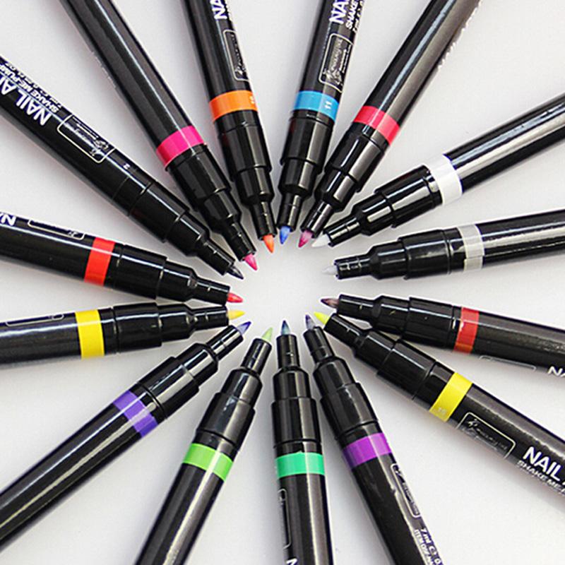 Professional 16 Color Nail Art Pen Nail Polish Painting Dot Drawing Pen UV Gel Design Manicure Acrylic Paint Tools 16PCS GUB#(China (Mainland))