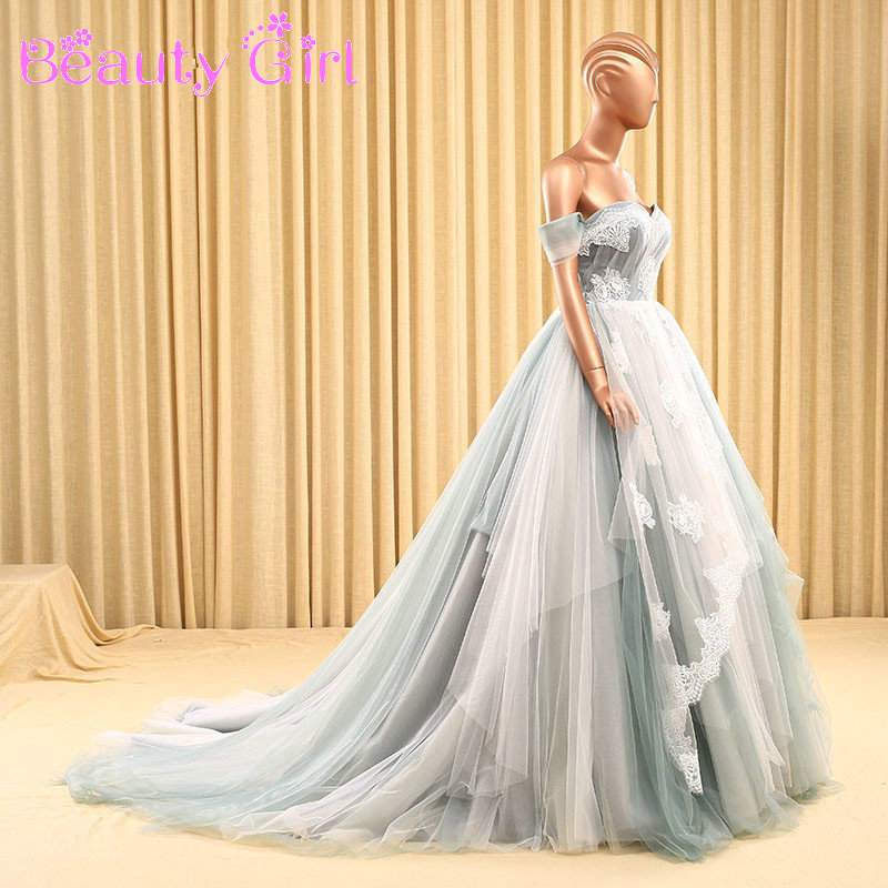Newest ball gown off the shoulder colorful wedding dresses for Off the shoulder tulle wedding dress