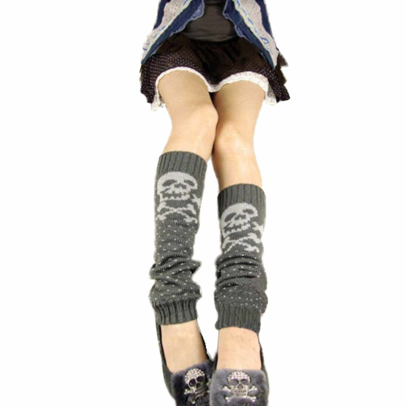 Attractive Skull Womens Knit Wool Boots Over Knee Thigh High Snow Fashion Leg Warmer JE29(China (Mainland))