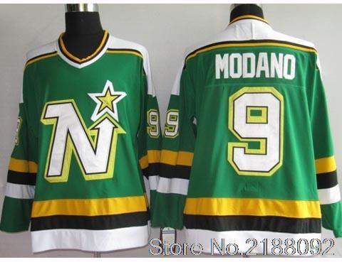 #9 Mike Modano Green Embroidery Logos Ice Hockey Jersey(China (Mainland))