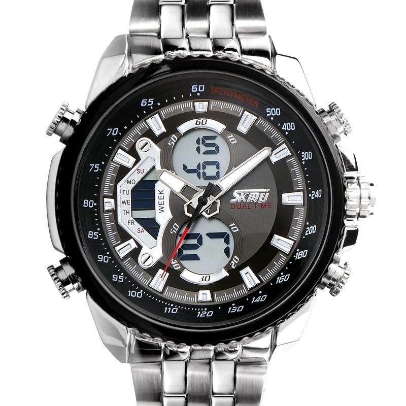 men quartz digital watch male full steel wristwatch Multiple functions fashion casual sports wrist watch relogio masculino black<br><br>Aliexpress