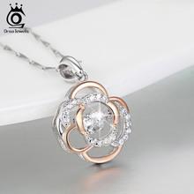 Orsa jewels 925 серебряный цветок кулон ожерелье с 0.3 ct блестящие кубического циркония смешанные цвета розового золота ожерелья sn12(China (Mainland))