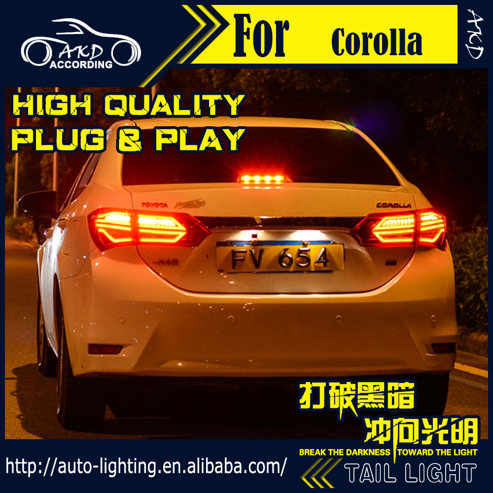 Car Styling Tail Lamp for Toyota Corolla LED Tail Light 2014-2016 New Altis LED Rear Lamp LED DRL+Brake+Park+Signal Stop Lamp(China (Mainland))