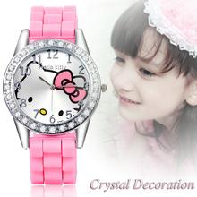 2016 Brand Cartoon Hello Kitty watches Women Silicone Jelly children girls dress Quartz WristWatch kids hellokitty watches