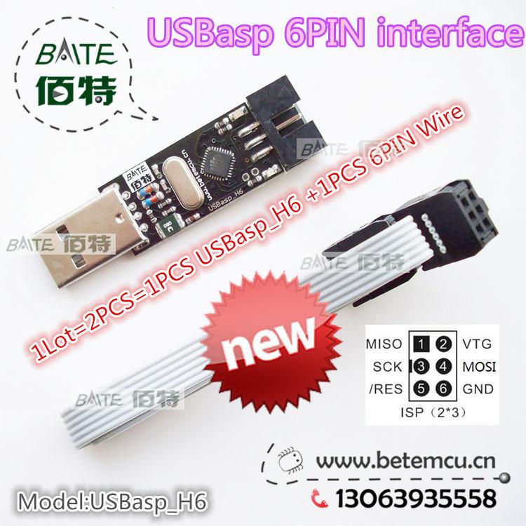 1Lot=2PCS=1PCS USBasp_H6 USB ISP 5V AVR Programmer USB ATMEGA8 ATMEGA128 New +1PCS 6PIN Wire Support Win7 64Bit(China (Mainland))
