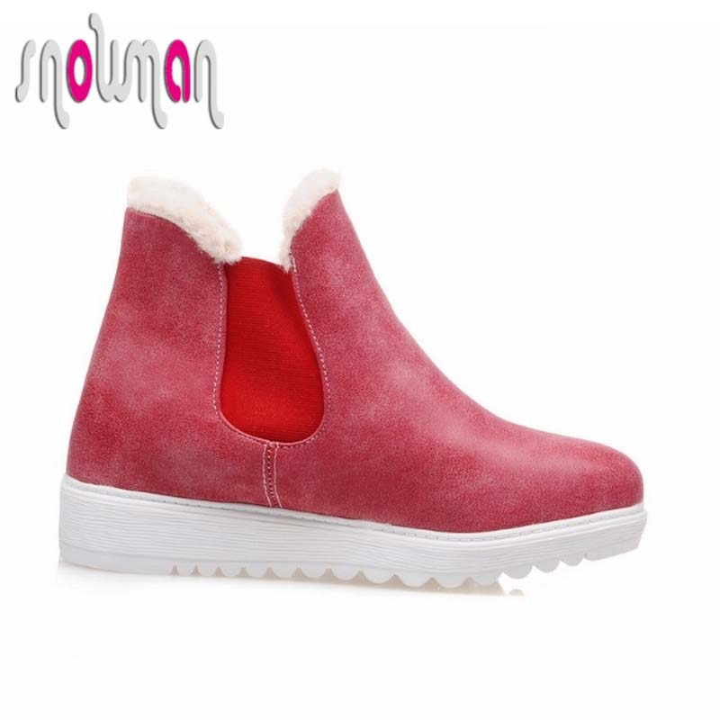 2016 Woman Warm Winter Boots Outdoor Winter Shoes Casual Slip on Fur Lining Ankle Boots for Lady Flat Heels Platform Snow Shoes