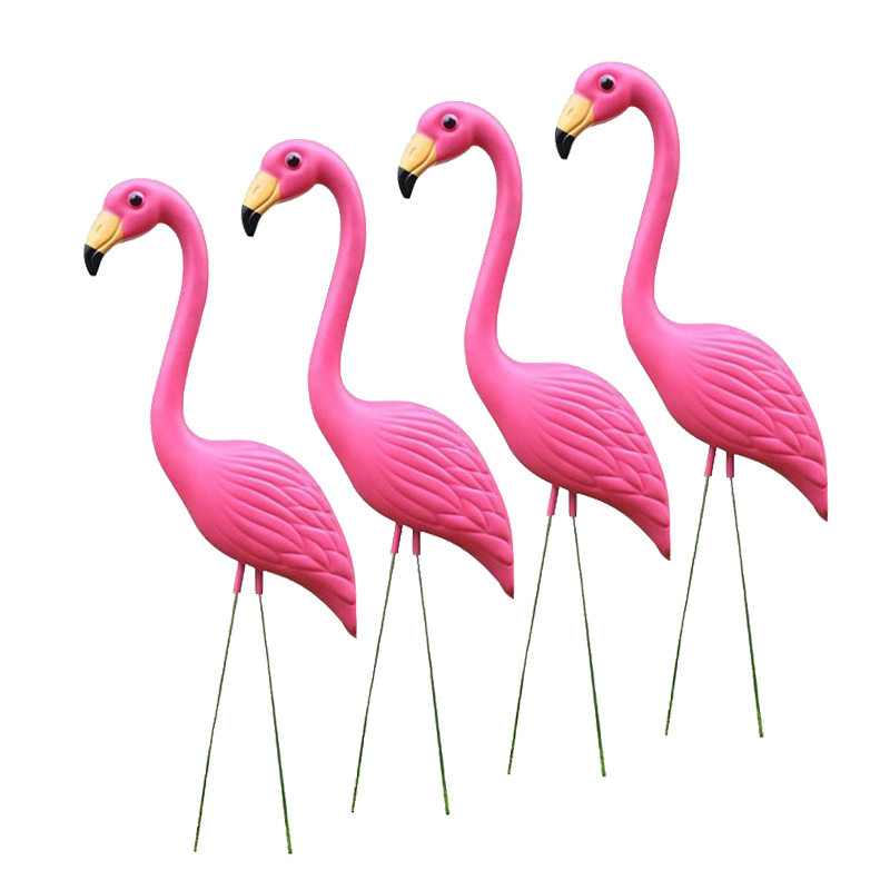 4pcs Pink Flamingo Statue Figurine Home Yard Garden Lawn Balcony Decor Lifelike Animal Ornaments Grassland  Party Supplies