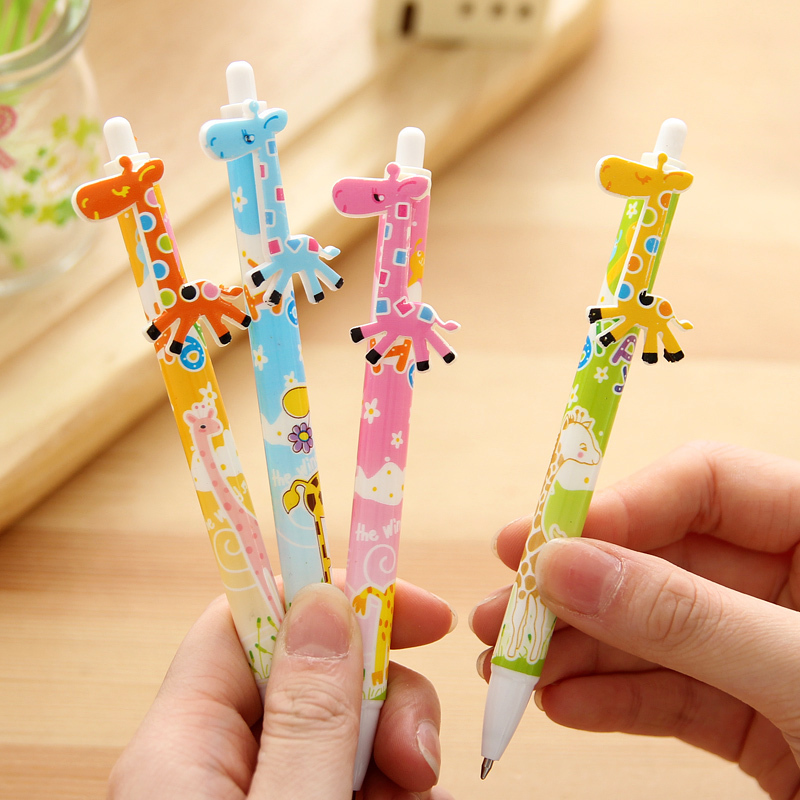 Japan and South Korea creative stationery duo gifted child cartoon cute giraffe pattern schoolchildren ballpoint color optional(China (Mainland))