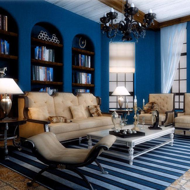 Blue wallpapers solid color embossed pvc waterproof - Blue wallpaper living room ...
