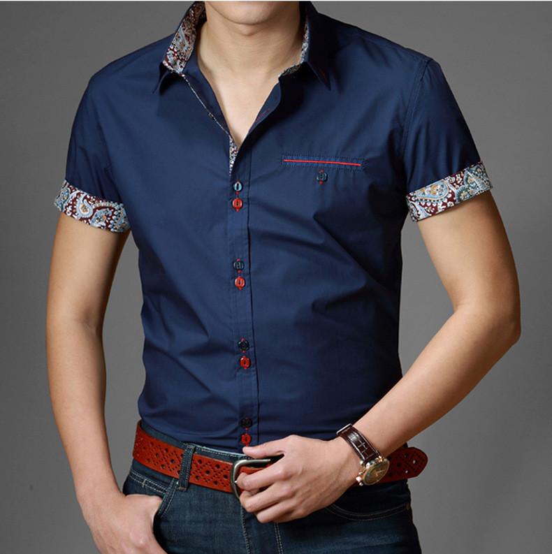 Fashion Camisas Hombre Slim Fit Camisa Masculinas U244