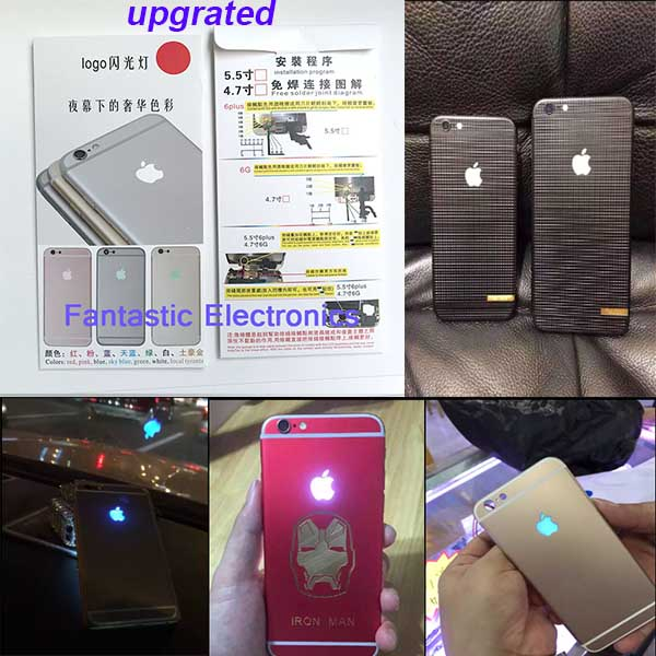UPGRADE 20 pcs/lot For iPhone 6 LED Logo DIY Luminescent LED Light Glow Logo Mod Panel Kit For iphone 6 plus glowing DHL(China (Mainland))
