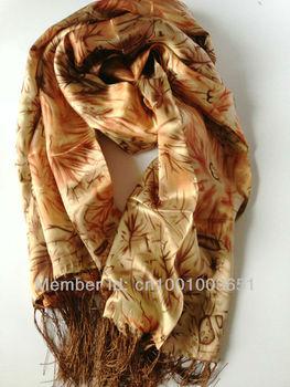 100% pure silk long scarf ,55cm*200cm silk shawl Rectangle Shawls tassels Chinese silk