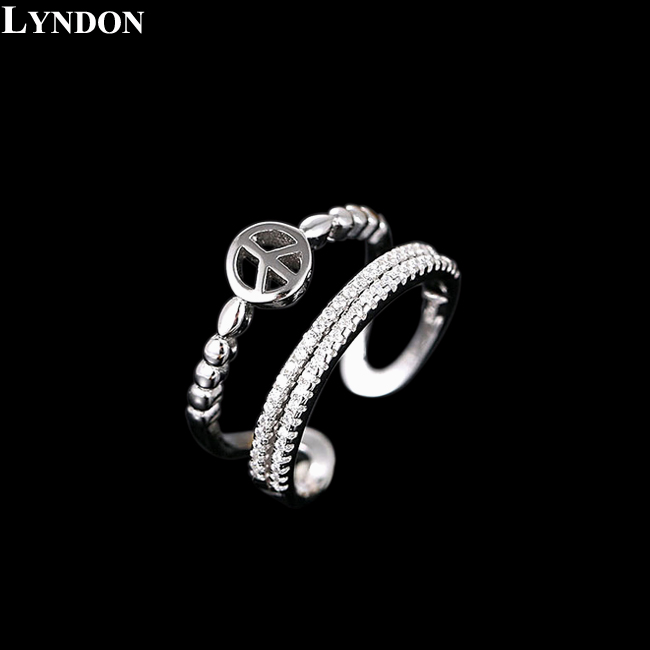 Peace Symbol Women 925 Sterling Silver Jewelry Two Bands Halo Swiss AAA CZ Diamond Openings Rings Valentine's Day Gift LR150125(China (Mainland))