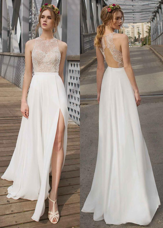 white chiffon and lace backless wedding dress