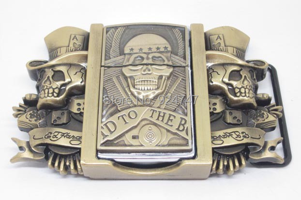 Double Skull Hat Die To Hard Lighter Belt Buckle(China (Mainland))