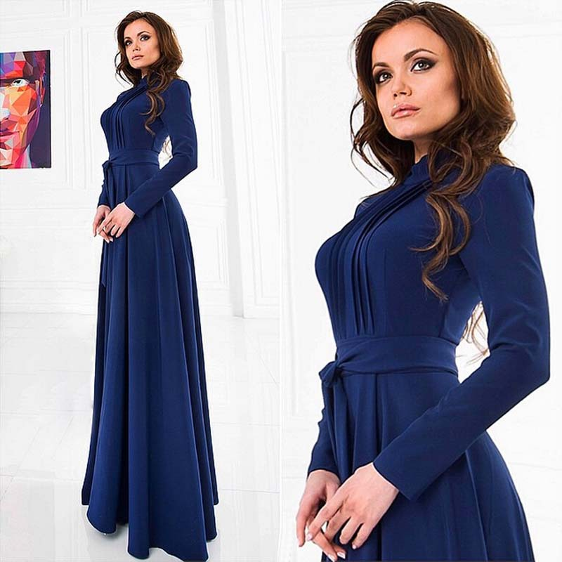 2015 New Style Summer Women Long Maxi Beach Dress Fashion Party A-Line Full Sleeves O-Neck Collar  Floor-Length Plus Size(China (Mainland))