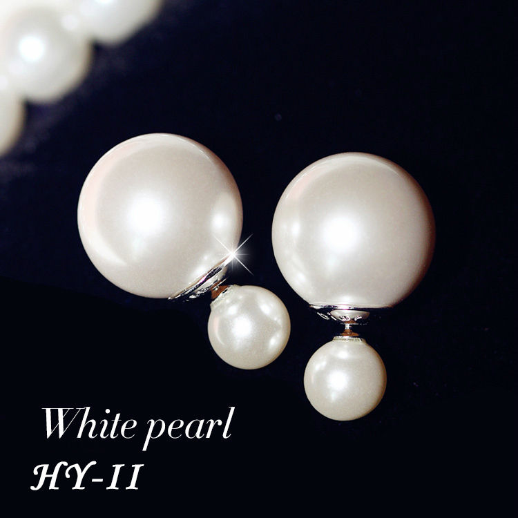 New Christmas Gift Fashion Bijoux Pearl Piercing Statement Earring Big Double Side Pearl Stud Earrings For Women Fashion Jewelry(China (Mainland))