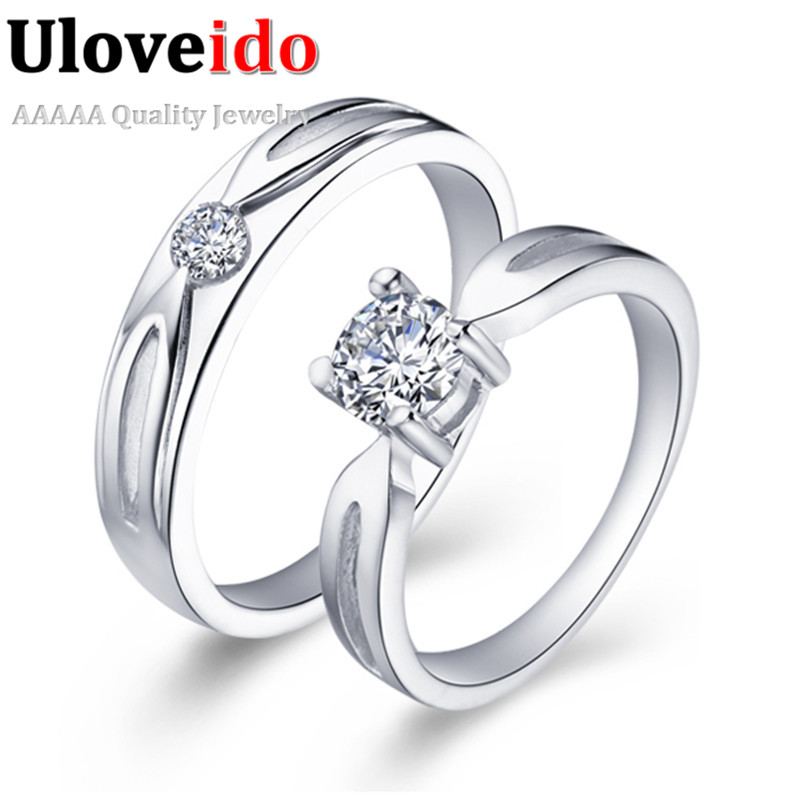 Crystal Quartz Ring Cheap 18K White Gold Plated Jewelry Partij Ringen Love Wedding Couple Cute Rings Lovers Uloveido J041 - ULOVE Fashion Official Store store