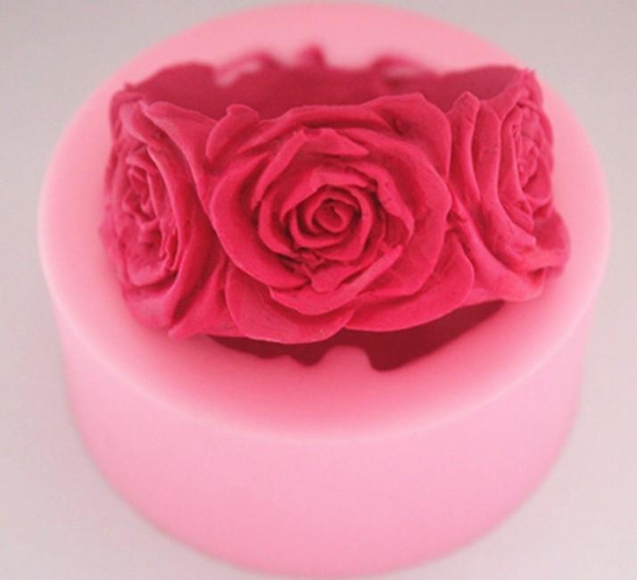 FM069 handmade soap mold silicone mold rose colour random(China (Mainland))
