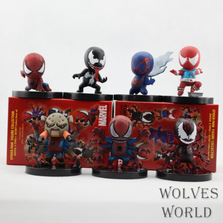Marvel Spider-Man SET PVC 6CM Action Figure Doll Kids Toys Freeshipping 7pcs/1set Super Heroes Pvc Collection Model(China (Mainland))