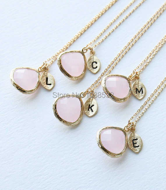 Bridesmaid Gifts Pink Stone Necklace Initial Necklace Bridesmaids gift Maid of Honor cc za collier(China (Mainland))